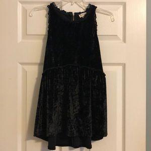 Black crushed velvet Empire waist/babydoll tunic